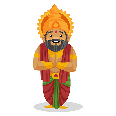 King Dasharatha is standing with folded hands