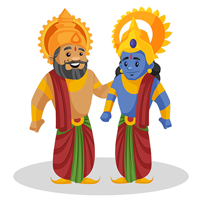King Dasharatha is standing with his son Rama