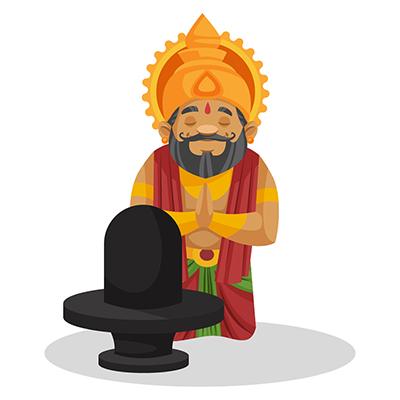 King Dasharatha is worshipping Lord Shiva