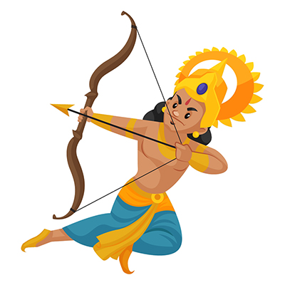 Laxman is attacking with a bow and arrow