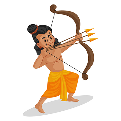 Laxman is attacking with three arrows in a bow