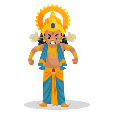 Cartoon Character of laxman is getting angry