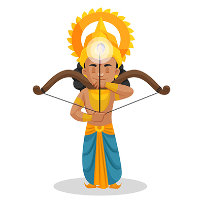 Laxman is holding a bow and arrow and making a target