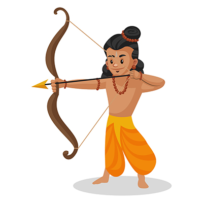 Laxman is holding a bow and arrow in hands