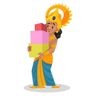 Laxman is holding gift boxes in hands