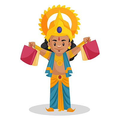 Laxman is holding shopping bags in hands