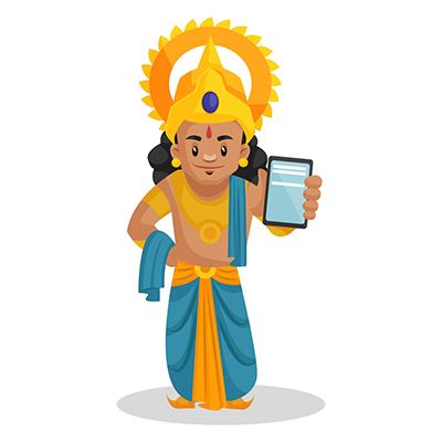 Laxman is showing a mobile phone