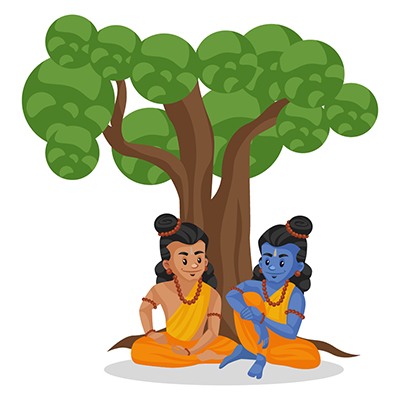 Laxman is sitting with Lord Rama under a tree