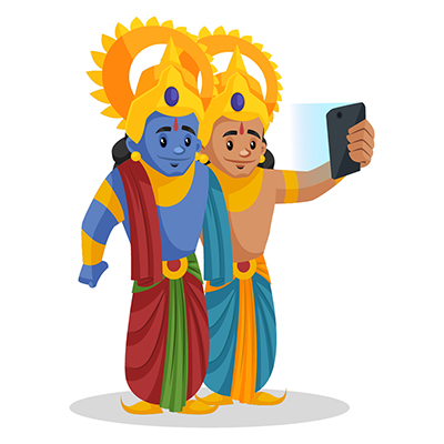 Laxman is taking a selfie with Lord Rama on mobile