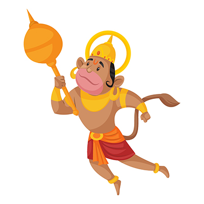 Lord Hanuman is flying and holding a mace in hand