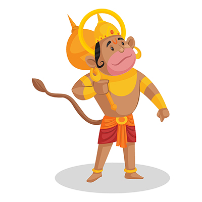 Lord Hanuman is holding a mace in hand