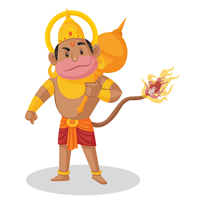 Lord Hanuman is holding a mace in hand and fire in his tail