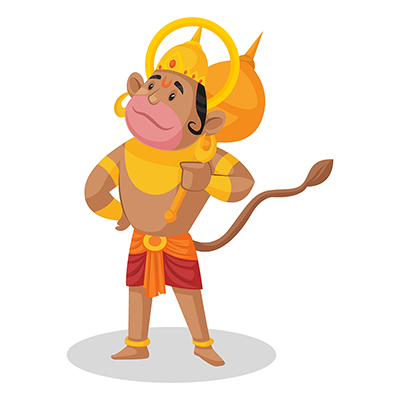 Lord Hanuman is holding a mace in hand and looking at the sky