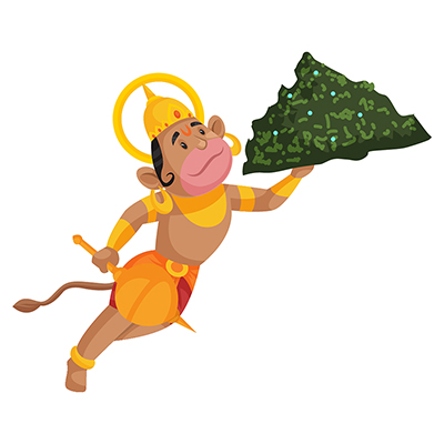Lord Hanuman is holding a mace in one hand and flying with a mountain
