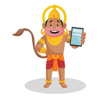 Lord Hanuman is showing a mobile phone