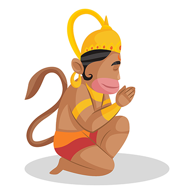 Lord Hanuman is sitting on his knee and with greet hands