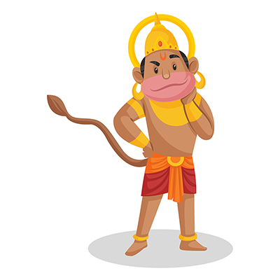 Lord Hanuman is standing and one hand on the neck