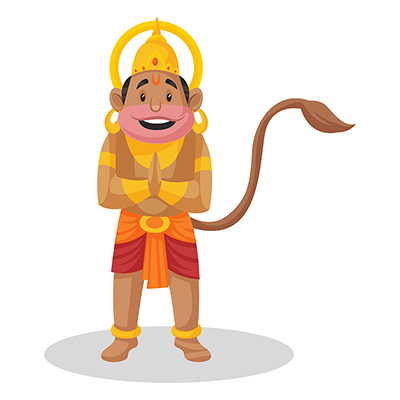 Lord Hanuman is standing with greet hands