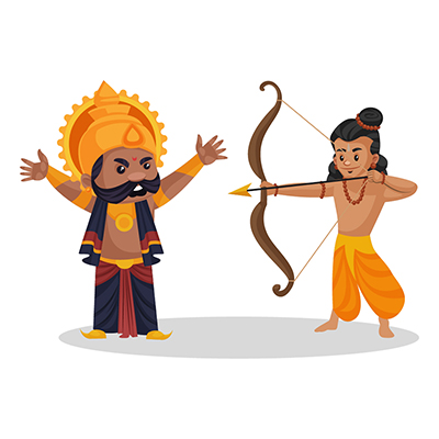 Lord Ram is attacking Ravana with a bow and arrow