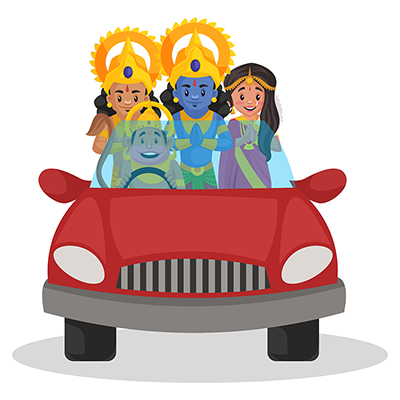 Lord Rama, Sita and Lakshman is sitting in the car and Lord Hanuman is driving
