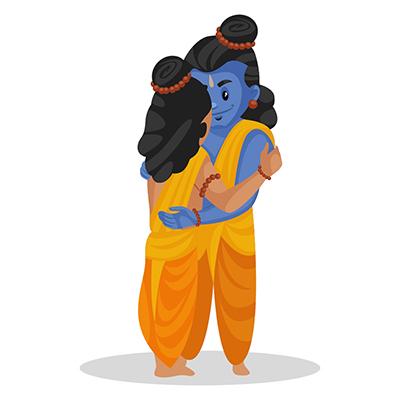 Lord Rama and Laxman are hugging