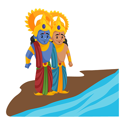 Lord Rama and Laxman are standing near the ocean