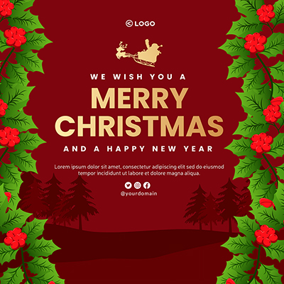 Merry Christmas and happy new year template banner