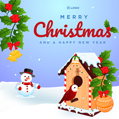 Merry Christmas and happy new year template design