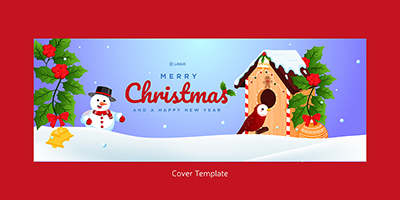 Merry Christmas on a facebook cover template