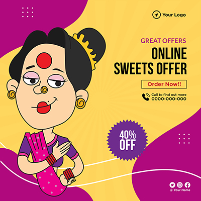Online sweets offer banner template