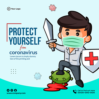 Protect yourself from coronavirus template banner