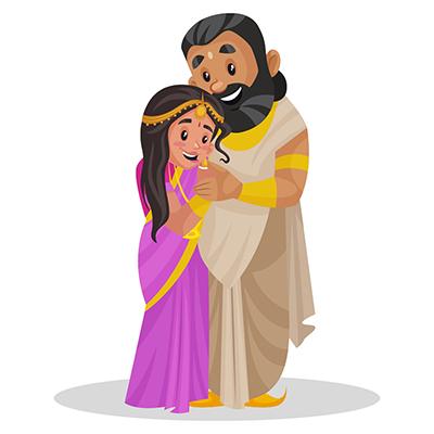 Raja Janaka is hugging her daughter Sita