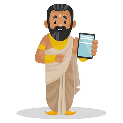 Raja Janaka is showing a mobile phone