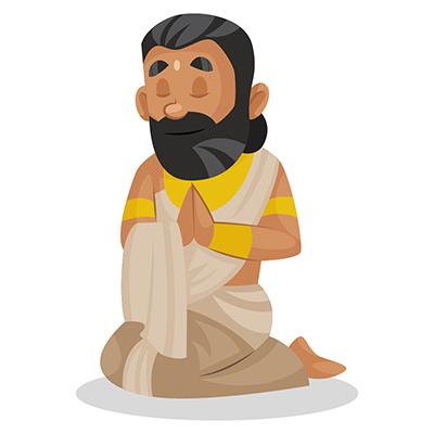 Raja Janaka is sitting on his knees and praying