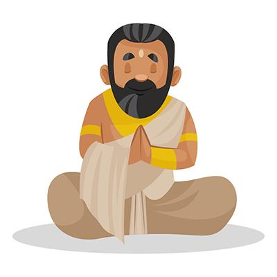 Raja Janaka is sitting with folded hands