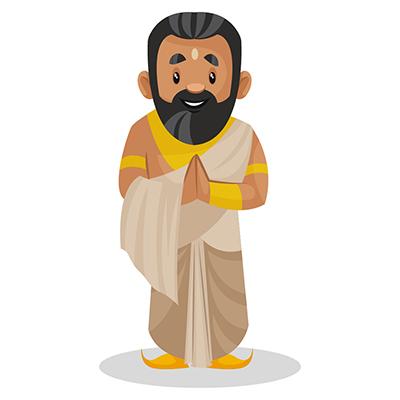 Raja Janaka is standing with greet hands