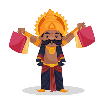 Ravana is holding shopping bags in his hands