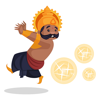 Ravana is scaring and running from the firecrackers