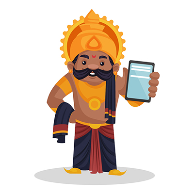 Ravana is showing a mobile phone
