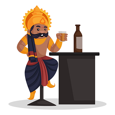 Ravana is sitting on a chair and drinking wine
