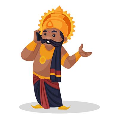Ravana is talking on a mobile phone