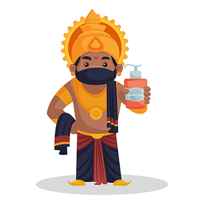 Ravana is wearing a mask and holding sanitizer in hand