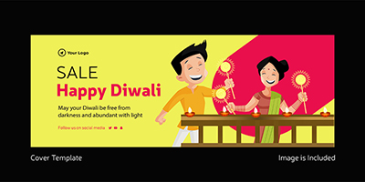 Sale on happy Diwali facebook cover template