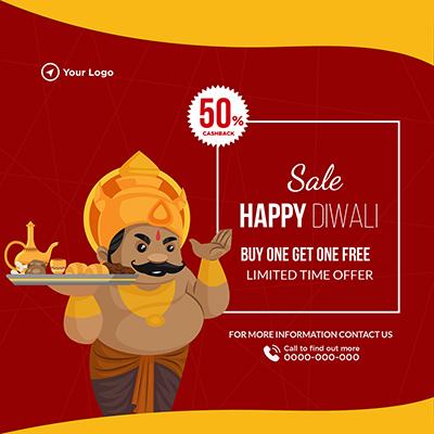 Sale on happy Diwali festival banner template