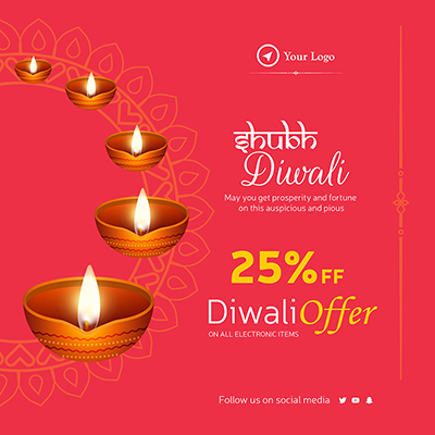 Shubh diwali offer on all electronic items template banner