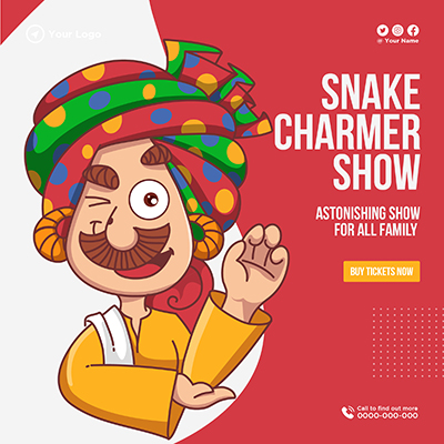 Snake charmer show with template banner