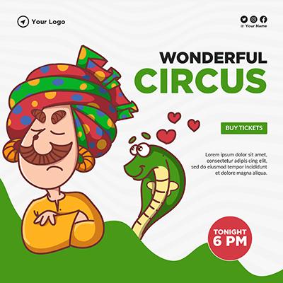 Social media banner design of wonderful circus