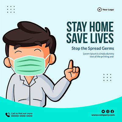 Stay home save lives social media template