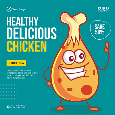 Template banner for healthy delicious chicken