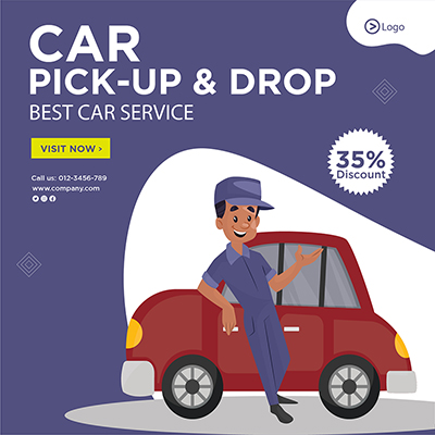Template banner of car pick up and drop service